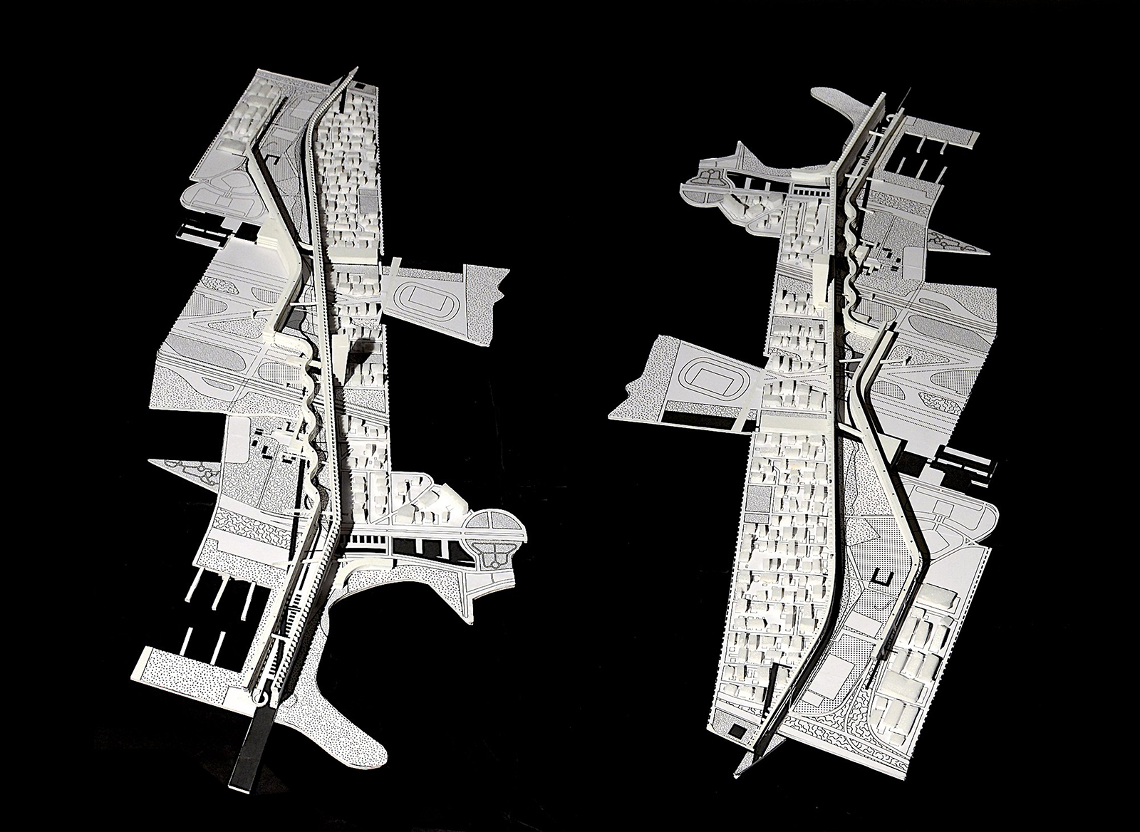 Pair of study models looking at the two endpoints of the HEL insertion with relationships to the mountain suburbs and the sea