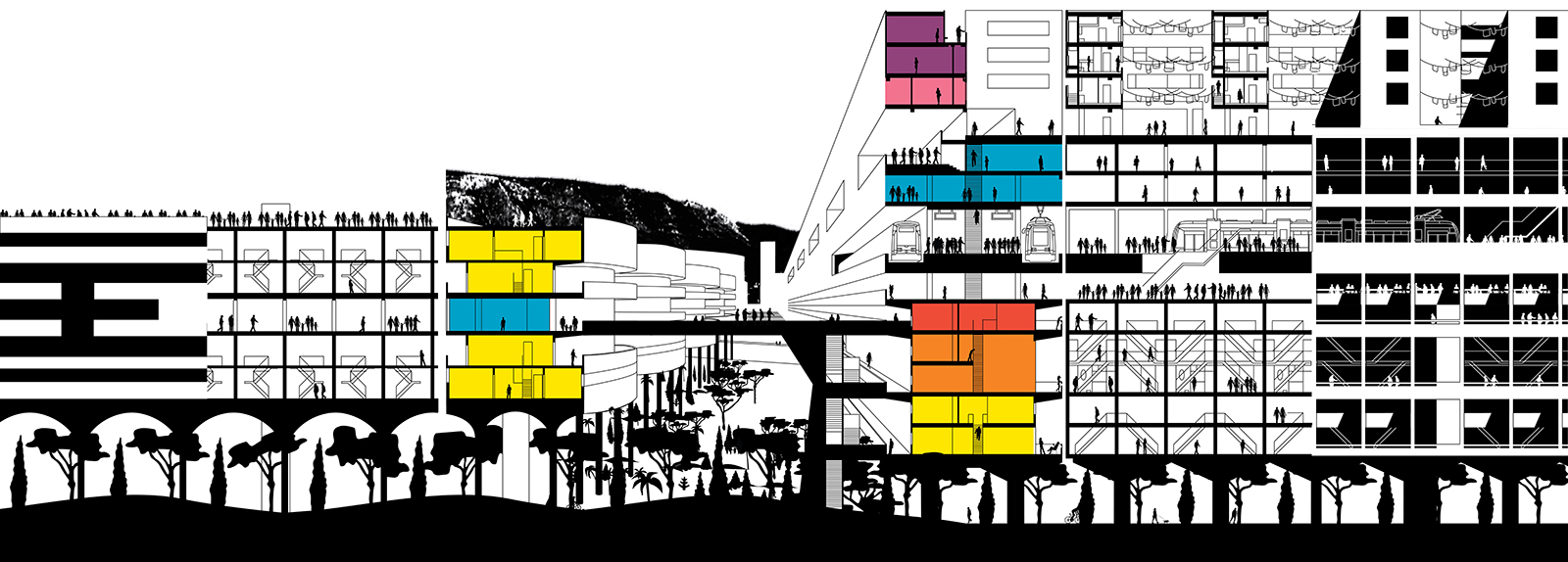 Section perspective of the central space created between the two infrastructural HEL bars with porous public levels