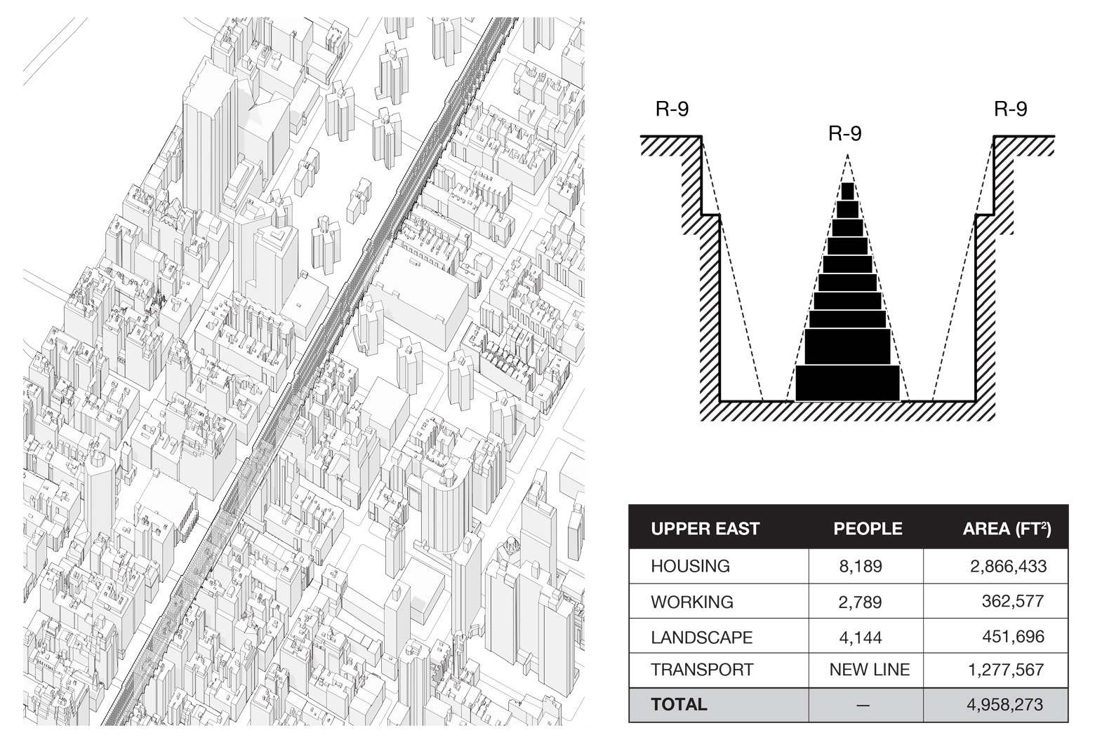 Data, section, and axon drawings for the proposed ININ infill massing inserted along throughout Park Avenue on the Upper East