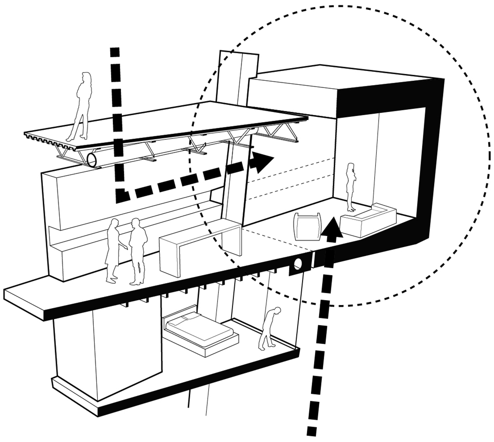 Section perspective diagram of interaction with the CART moving room lift that extends the main living space