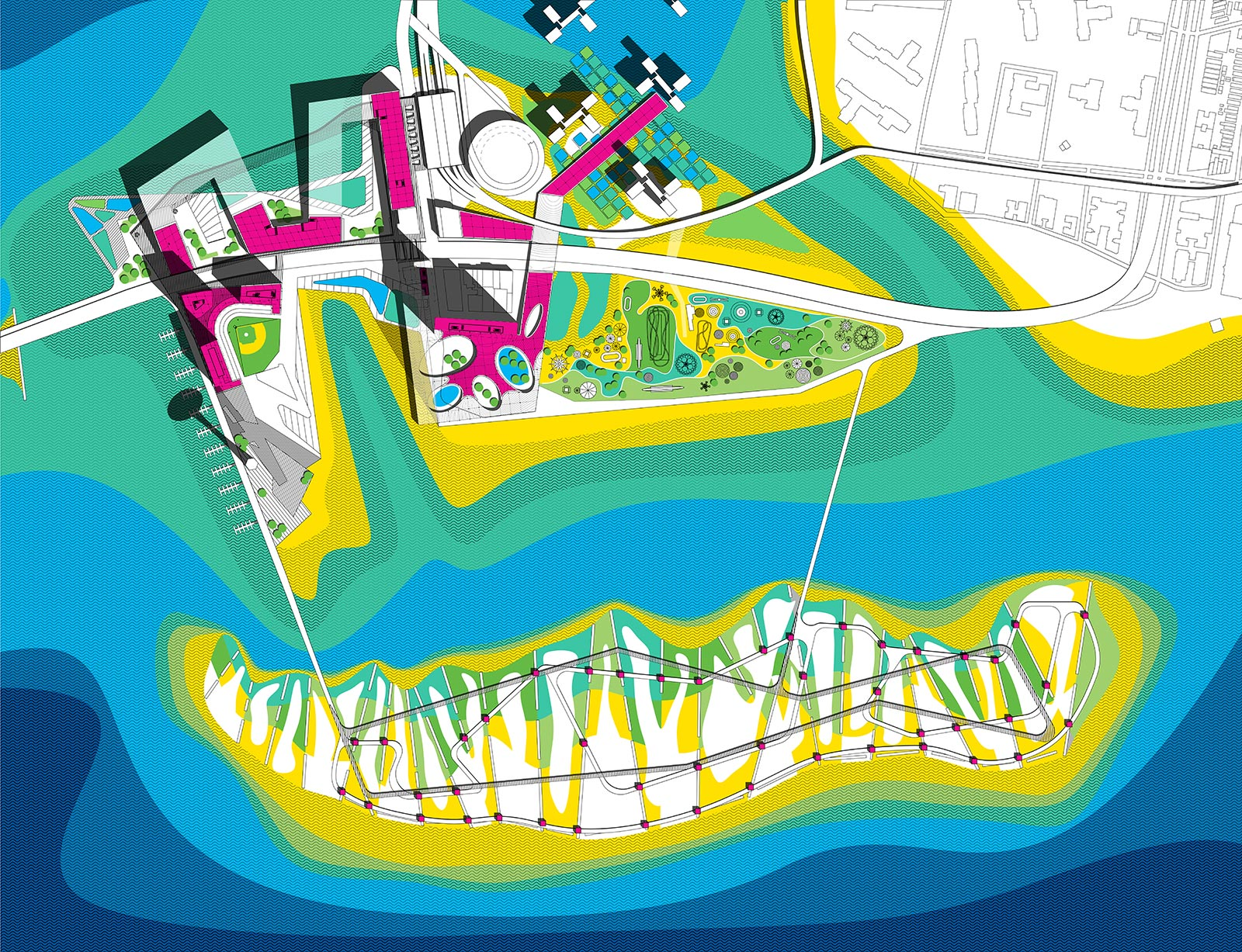 CISL masterplan concept showing the archipelago strategy for allowing the island to morph back into nature