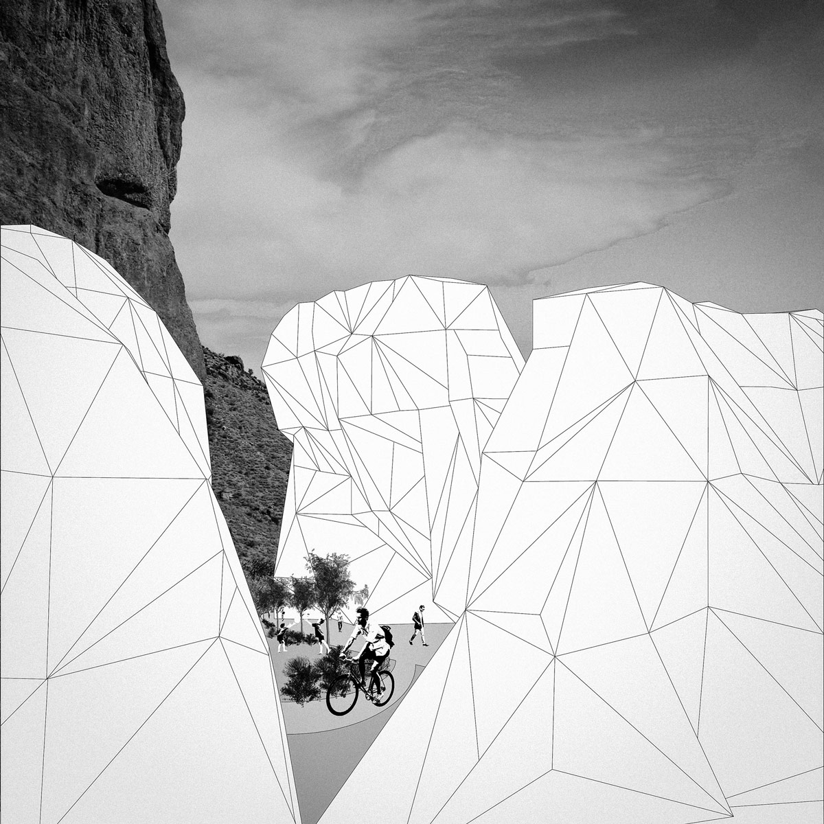 Perspective of desert housing masses camouflaged as mountains by student Claire Hinchman