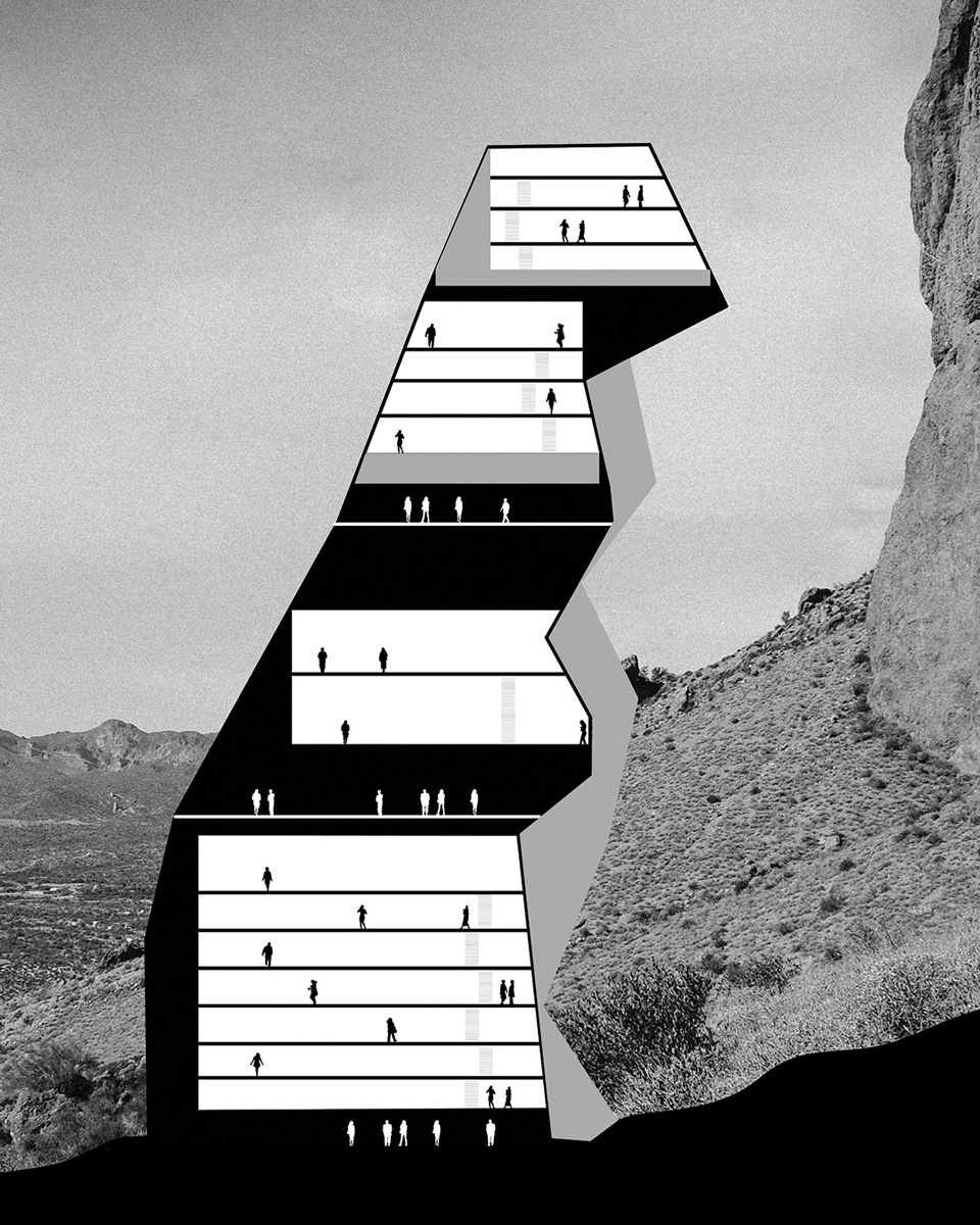 Section study of housing built into the Superstition Mountains by student Claire Hinchman