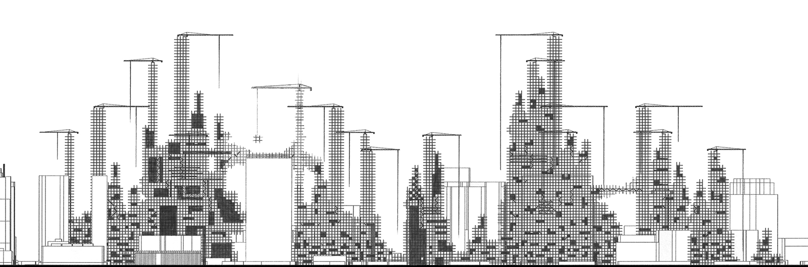 Concept section of a city of infill that grows organically throughout the voids of Phoenix by student Andrew Synacek