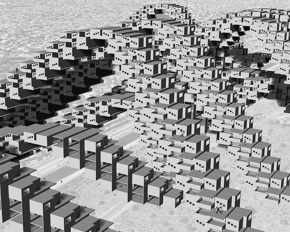Study perspective for a series of three-legged housing frames that create a porous edge to Phoenix by student Angel Rodriguez