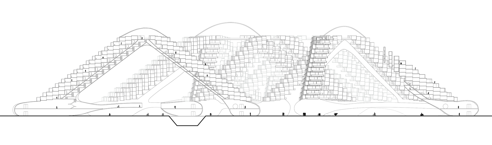 Long section drawing of a grouping of triangulated housing structures along the Phoenix Canal by student Angel Rodriguez