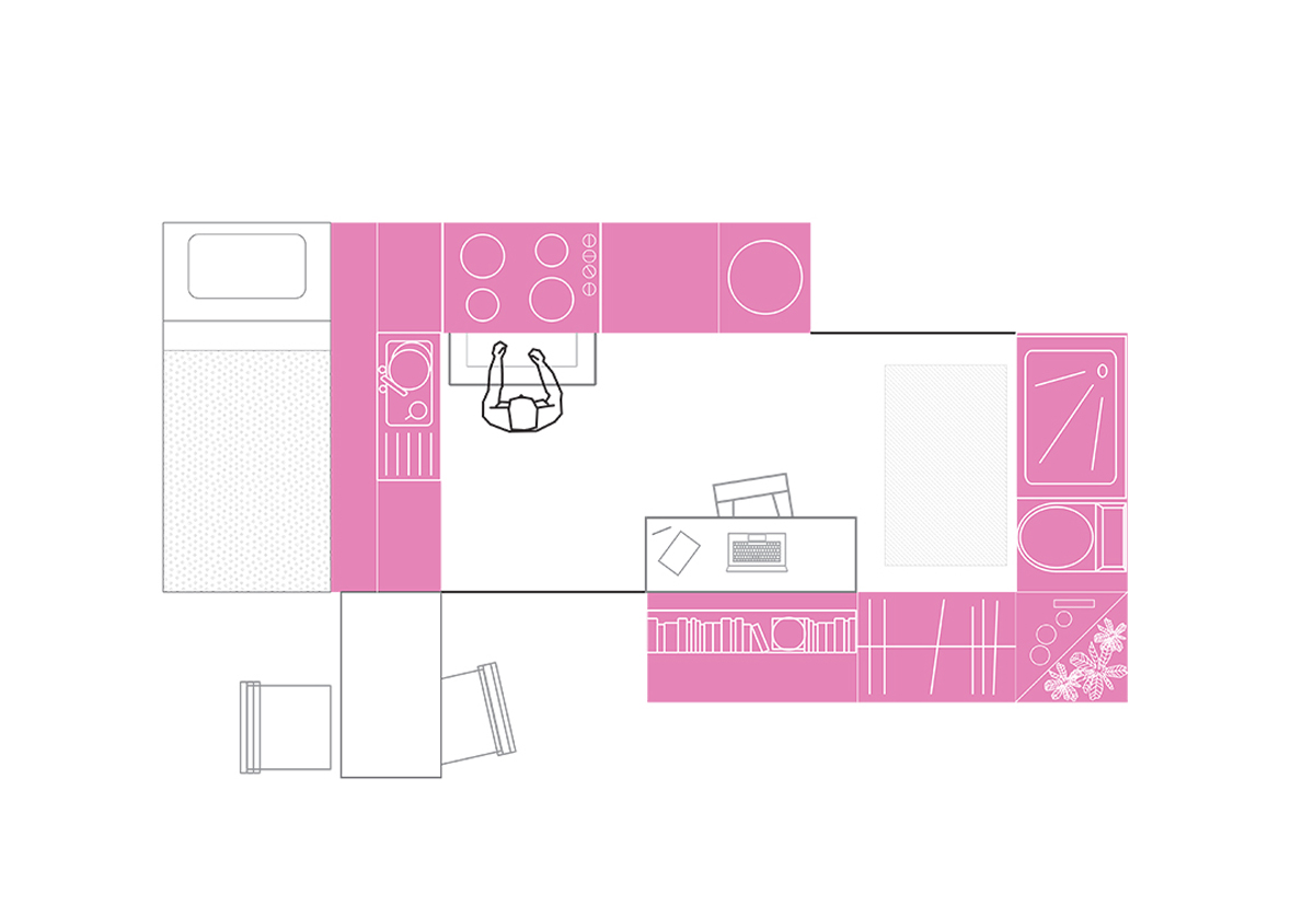 Unit plan drawing of multi-functional furniture elements that constitute housing units by student Brittany Cleveland