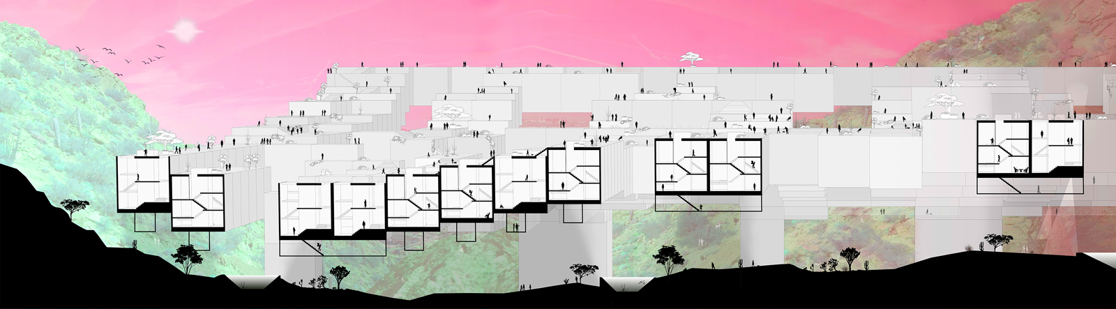 Section drawing of a community of lifted housing units that mirror the landscape below by student Evan Epperson