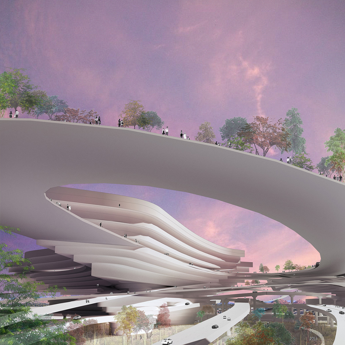 Perspective image proposing housing infrastructure above the highway interchanges of Phoenix by student Genevieve Miller