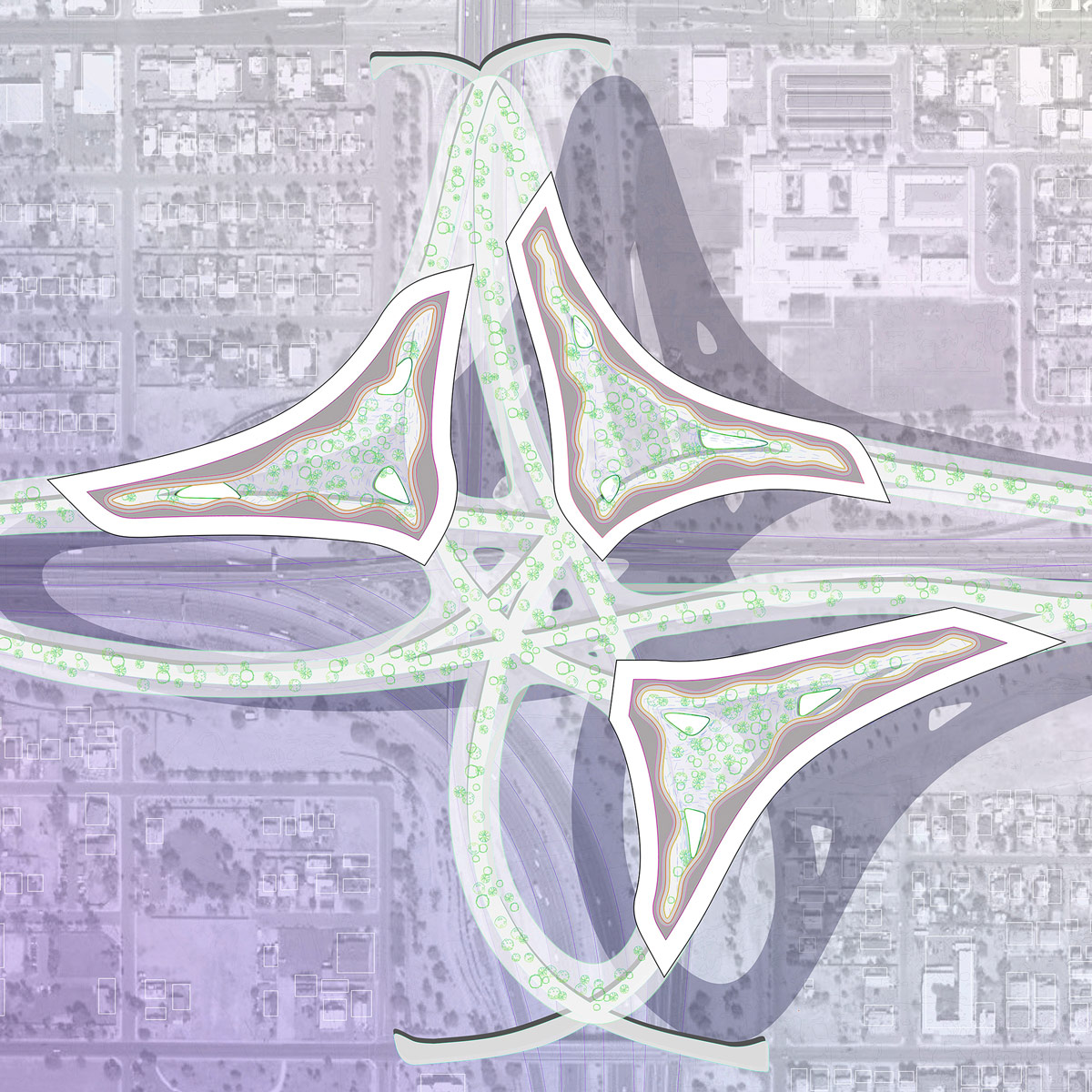 Urban plan illustrating a new lifted infrastructure above the highway interchange by student Genevieve Miller