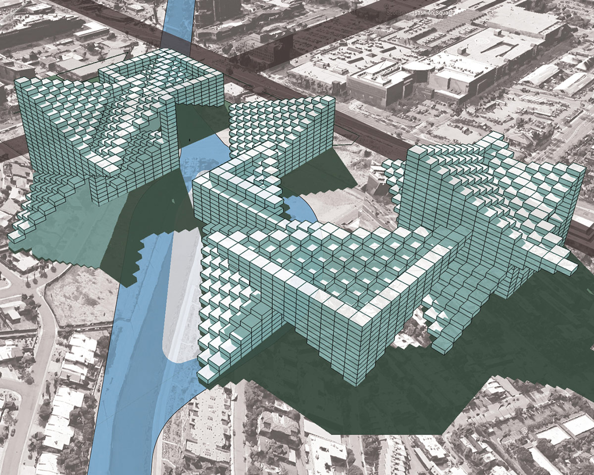 Aerial site perspective of urban masses that collect and harvest water along the canal by student Isabelle Borie