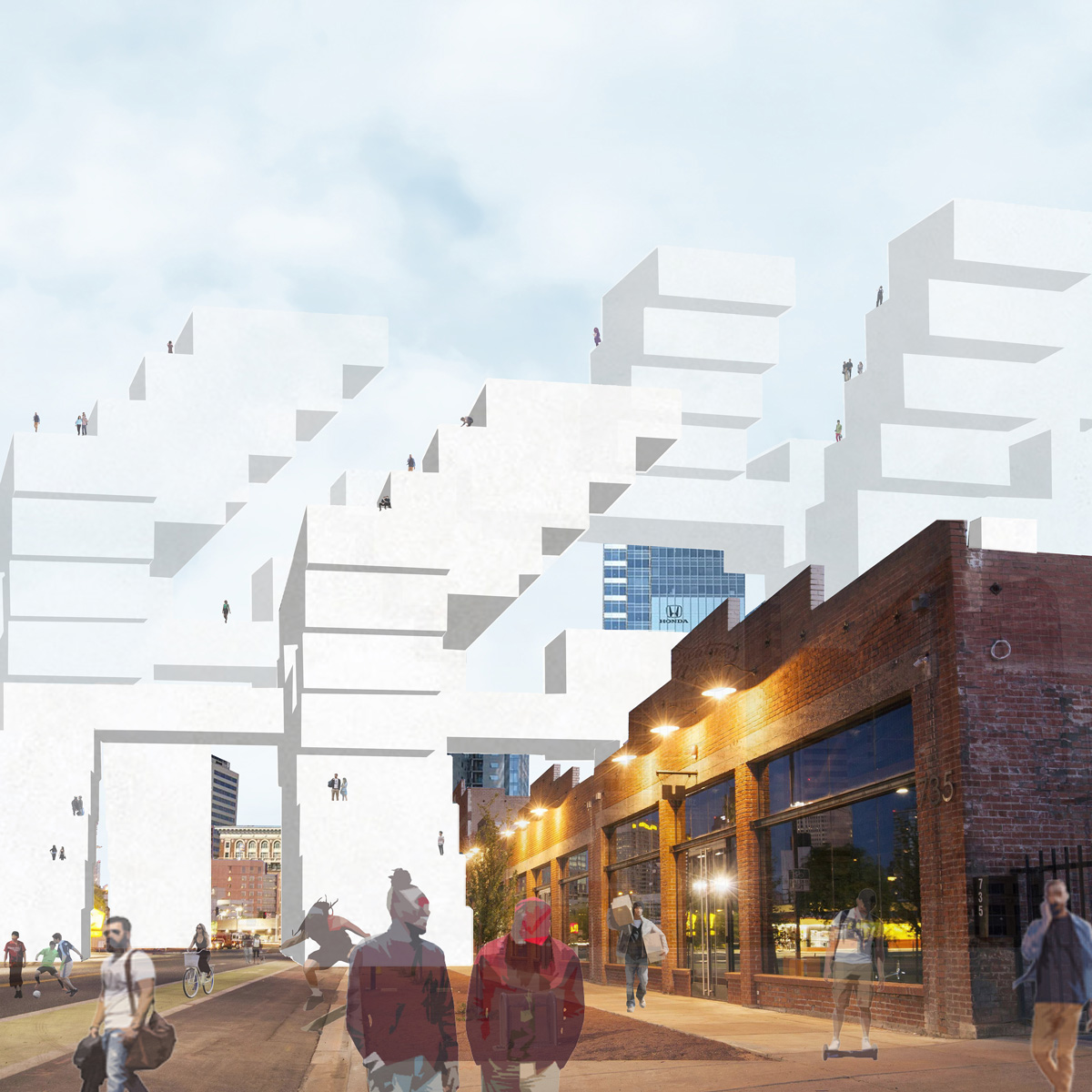 Street perspective of an urban mass that steps over the existing warehouse in Phoenix by student Israel Lozoya