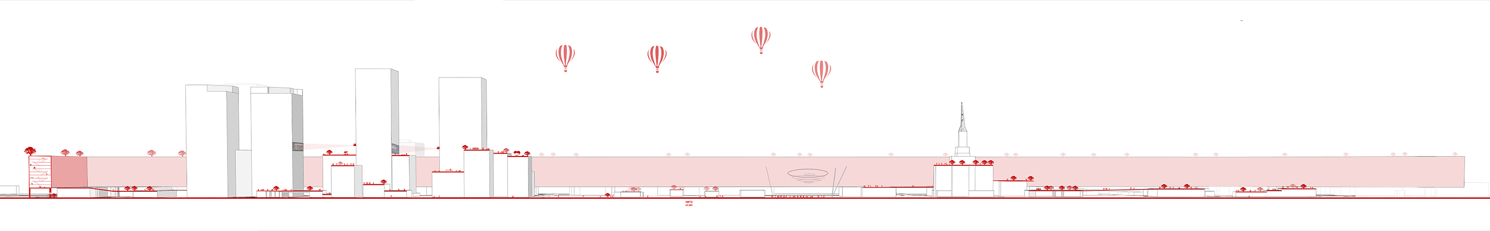 Linear urban section illustrating the scale and massing of housing above the Phoenix lightrail by student Lexi Sanchez