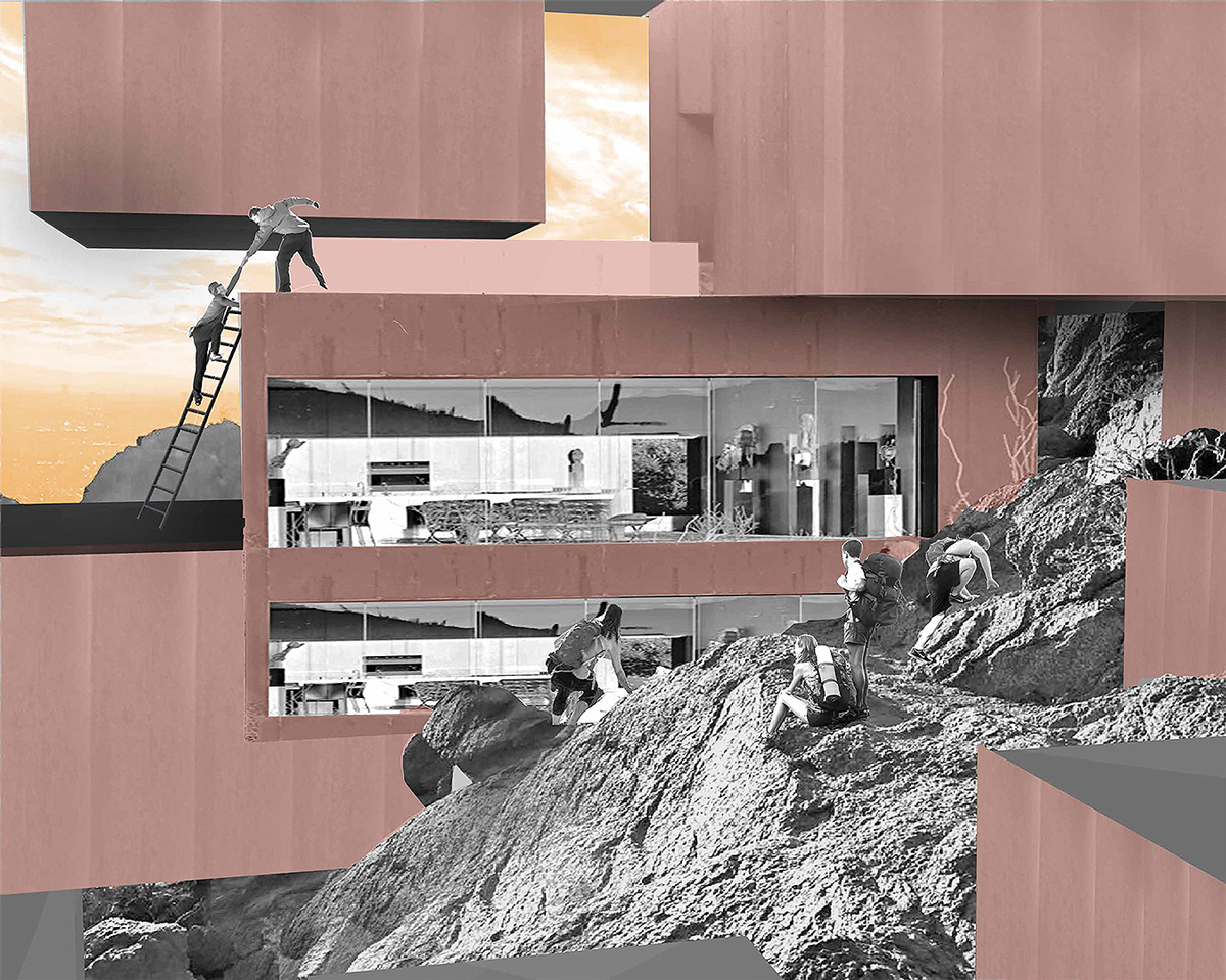 Perspective of mountain dwellings merging into Camelback Mountain as a new form of living by student Lindsey Griffith