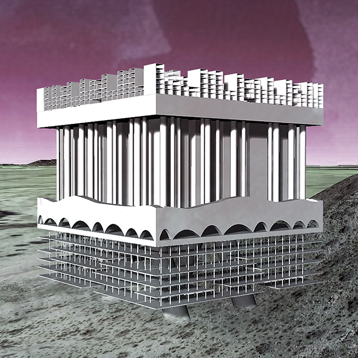 Massing perspective of a proposal for a self-sustaining community set in the desert landscape by student Monique Paulis