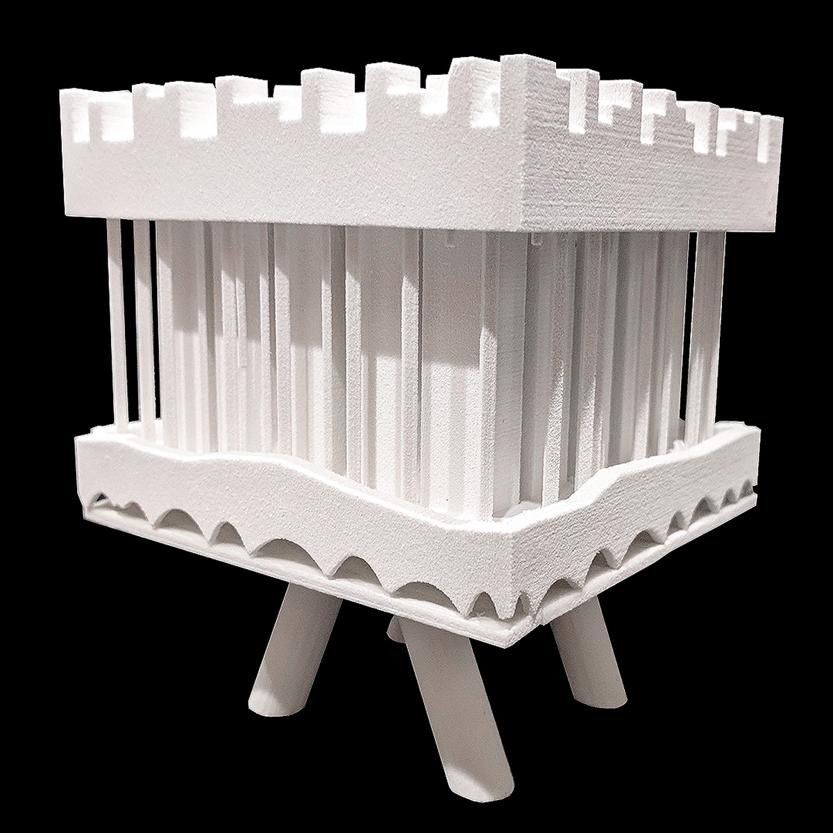 Massing model illustrating a form of housing block that is lifted above the desert by student Monique Paulis