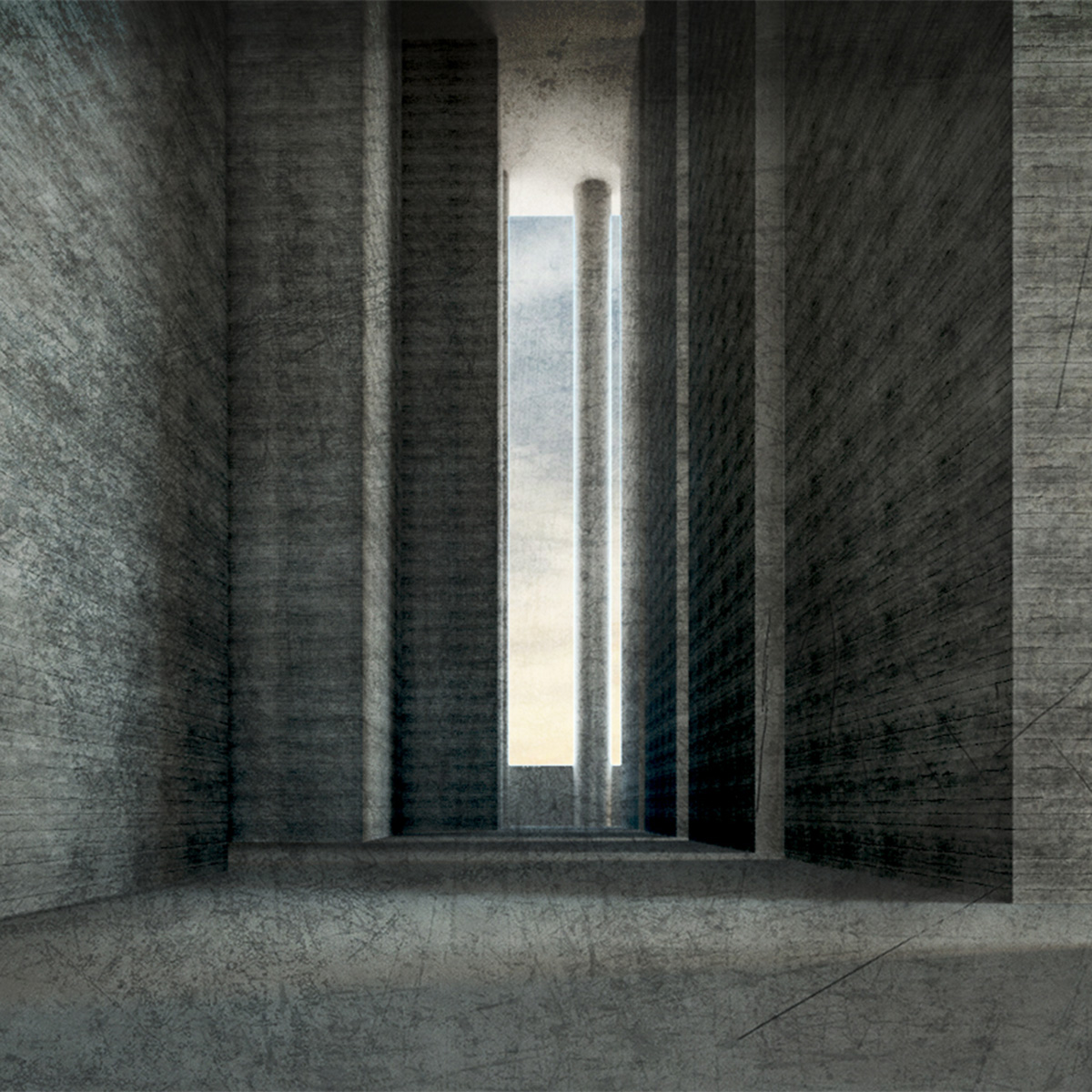 Perspective of an atmospheric streetscape within a dense urban mass by student Monique Paulis