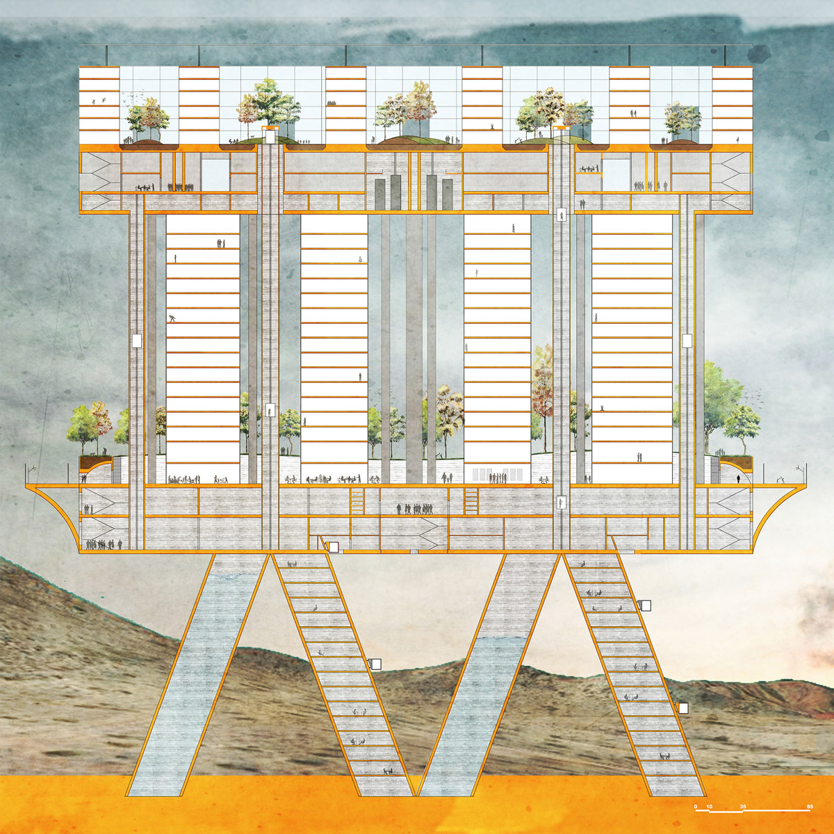 Section illustrating the layers and functions within a proposed self-sustaining housing block by student Monique Paulis