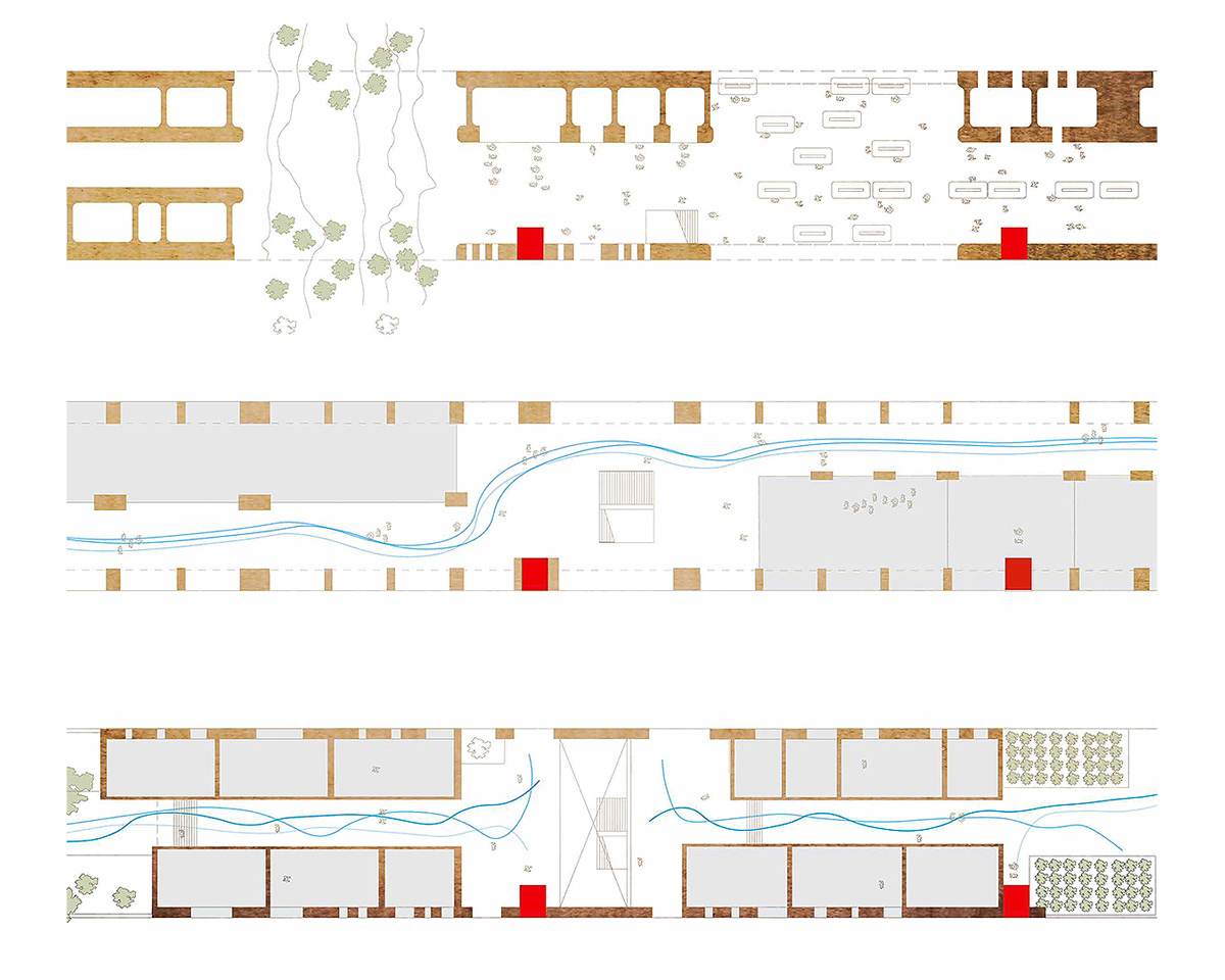 Plans of various levels of public spaces within a linear housing infrastructure by student Rikkie Pedregon