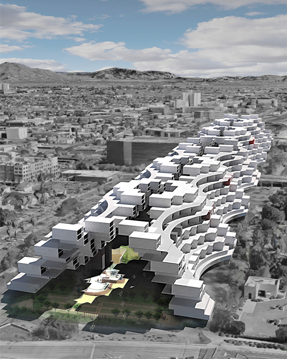 Aerial perspective of an urban mass that adds density and shades Phoenix's Margaret T Hance Park by student Yamileth Ponce