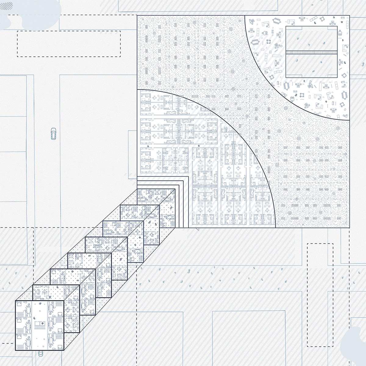 Plan drawing illustrating multiple layers of a housing typology and shade canopy above Phoenix by student Yuchen Zhao
