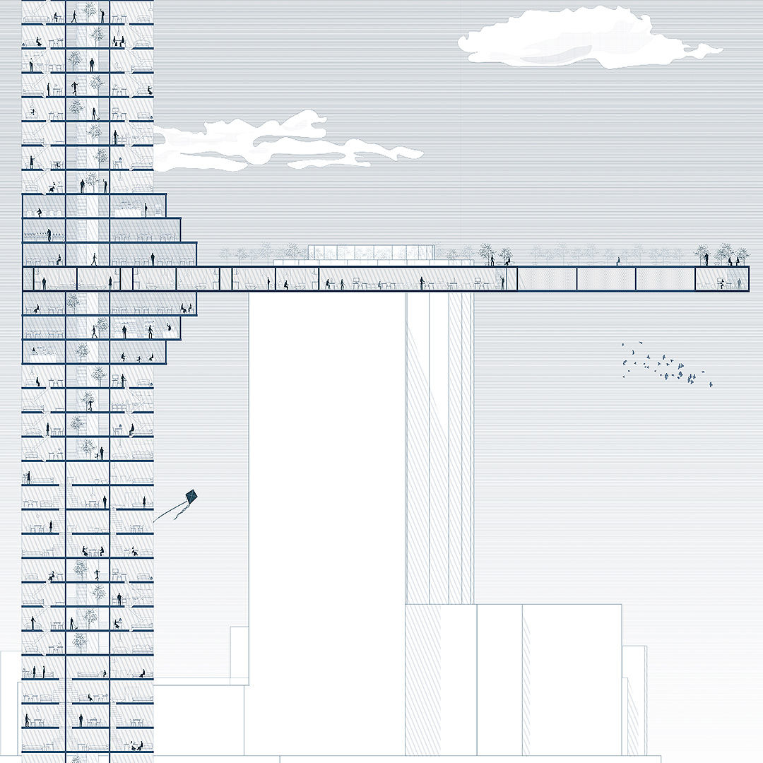 Section drawing of a new housing typology that combines a vertical tower and a horizontal slab by student Yuchen Zhao