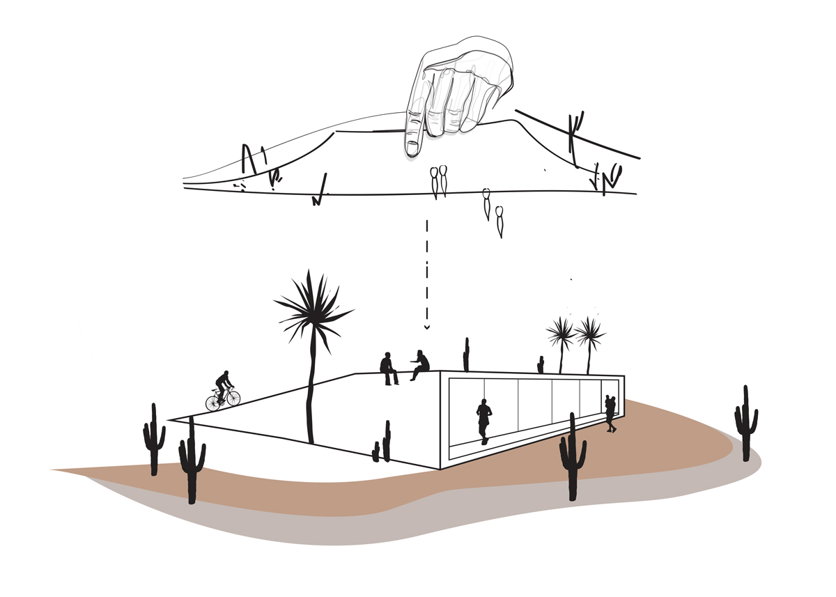 Concept diagram for cutting and peeling up the desert landscape for housing by student Amberley Johnson