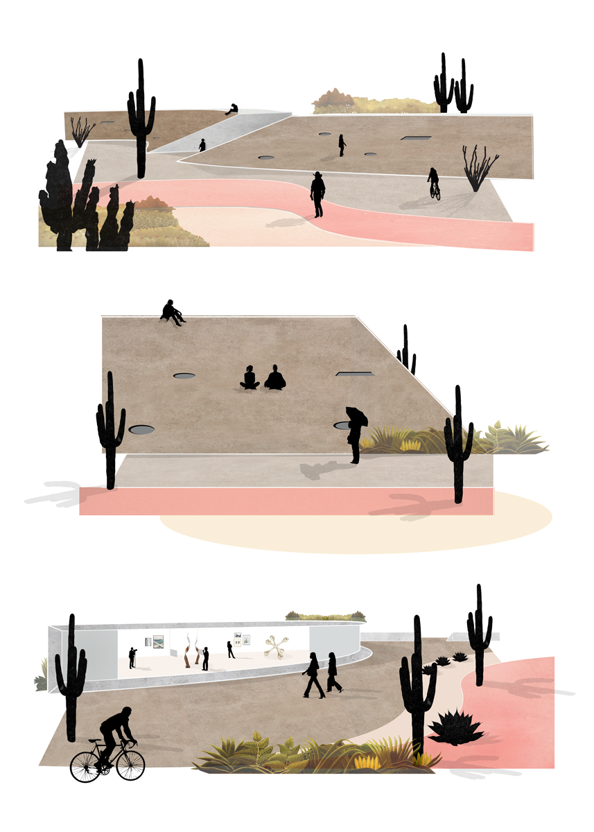 Series of exterior perspectives of housing and communal program blended into the desert landscape by student Amberley Johnson