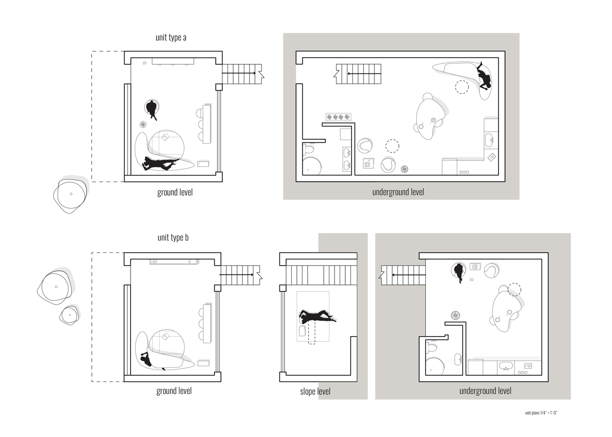 Units plans illustrating the various spaces and levels of an underground housing unit by student Amberley Johnson