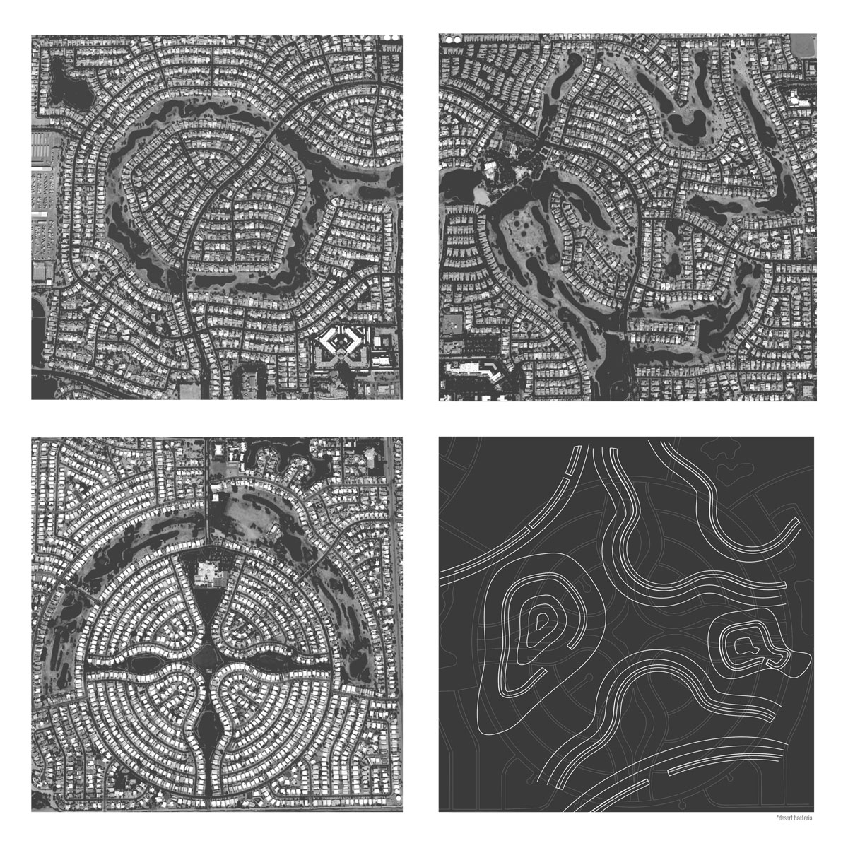 Series of aerials showing the ability to transform suburban communities into a natural landscape by student Amberley Johnson