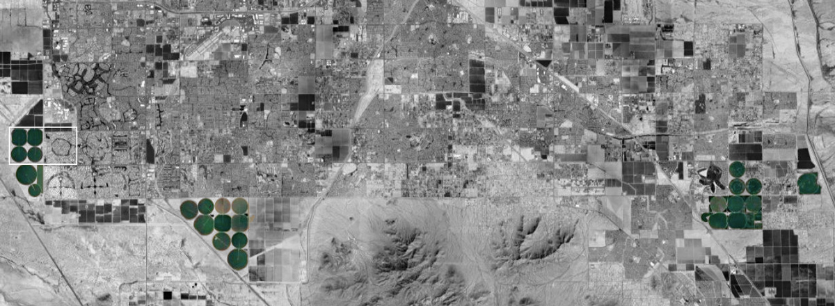 Satellite aerial highlighting the various farming circles in Phoenix that could integrate housing by student Alejandra Lobato