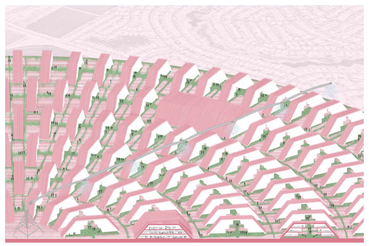 Aerial perspective of a circular embedded housing and farming community with shared programs by student Alejandra Lobato