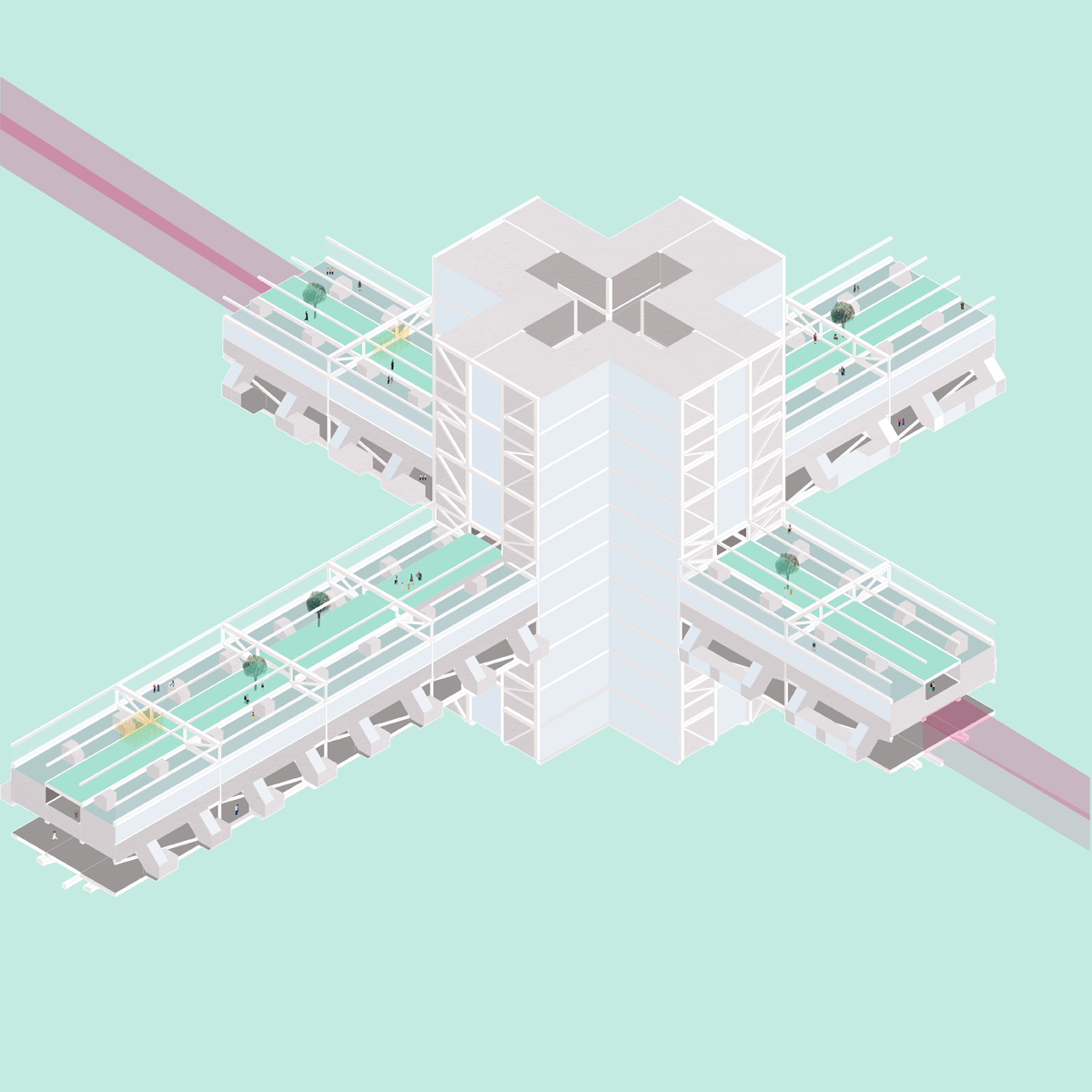 Isometric drawing of a node cluster linking together a new lifted urban infrastructure in Phoenix by student Amy Dicker