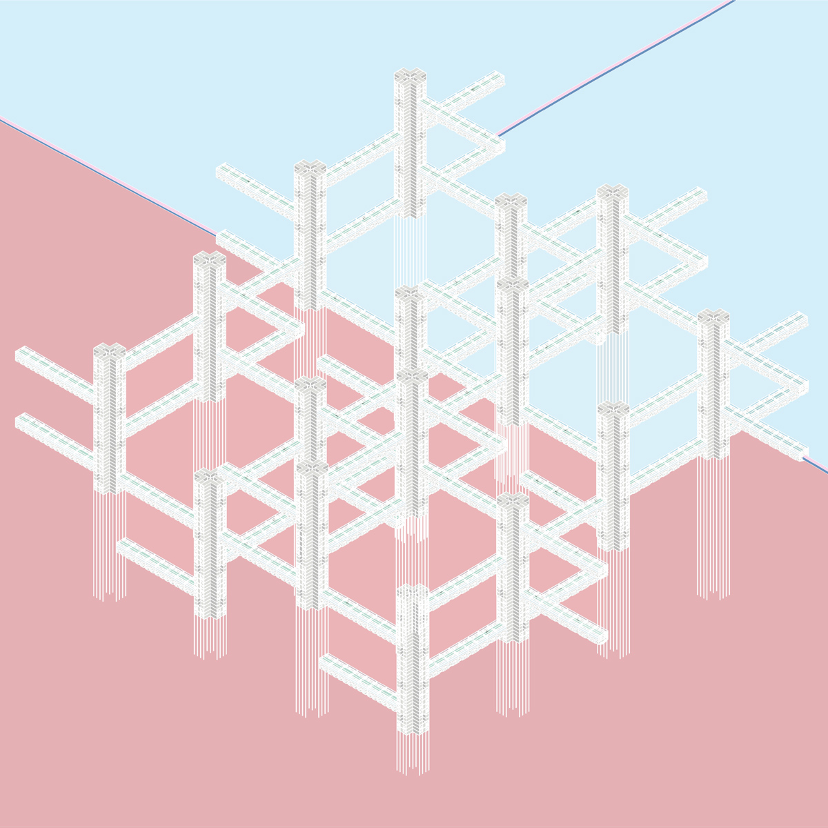 Isometric drawing of a regional infrastructure of towers connected by housing and transport by student Amy Dicker