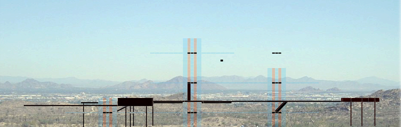 In progress study section for a new lifted urban infrastructure that hovers lightly above Phoenix by student Amy Dicker