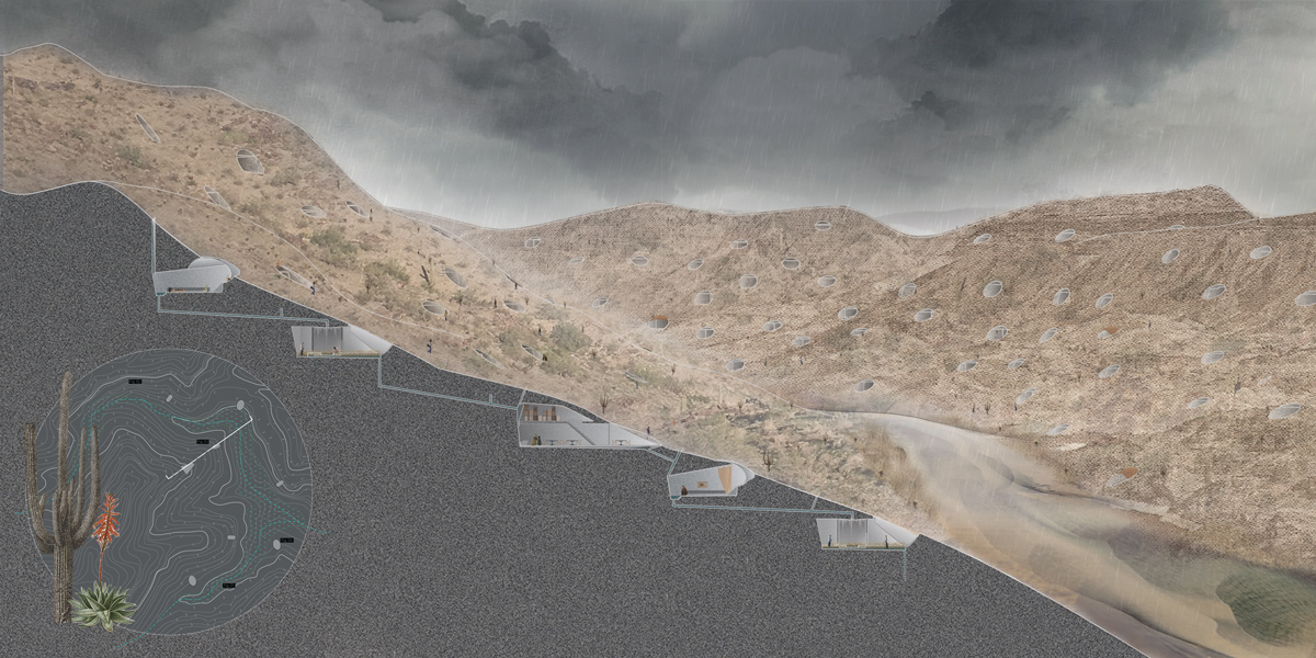Section perspective revealing housing units embedded into the landscape of South Mountain by student Brandon Powell