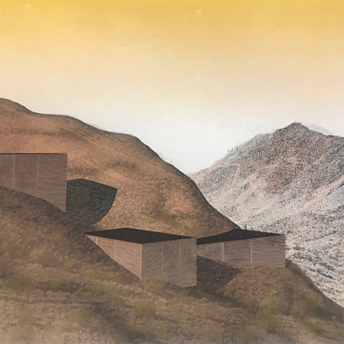 Concept collage studying earthen masses that merge with Phoenix's South Mountain preserve by student Brandon Powell