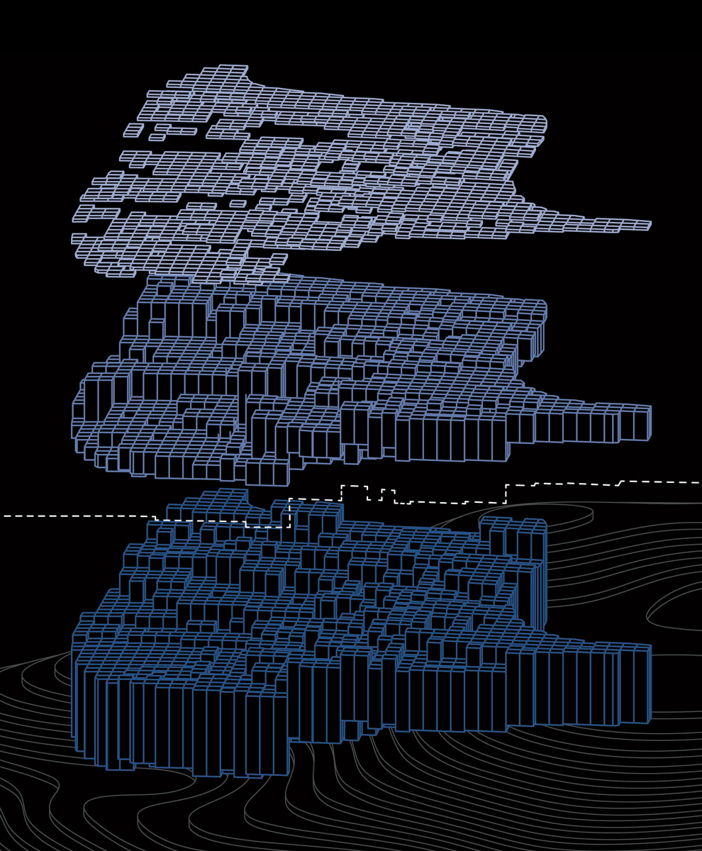 Exploded isometric diagram of the layers for a topographic housing community by student Camille Medeiros