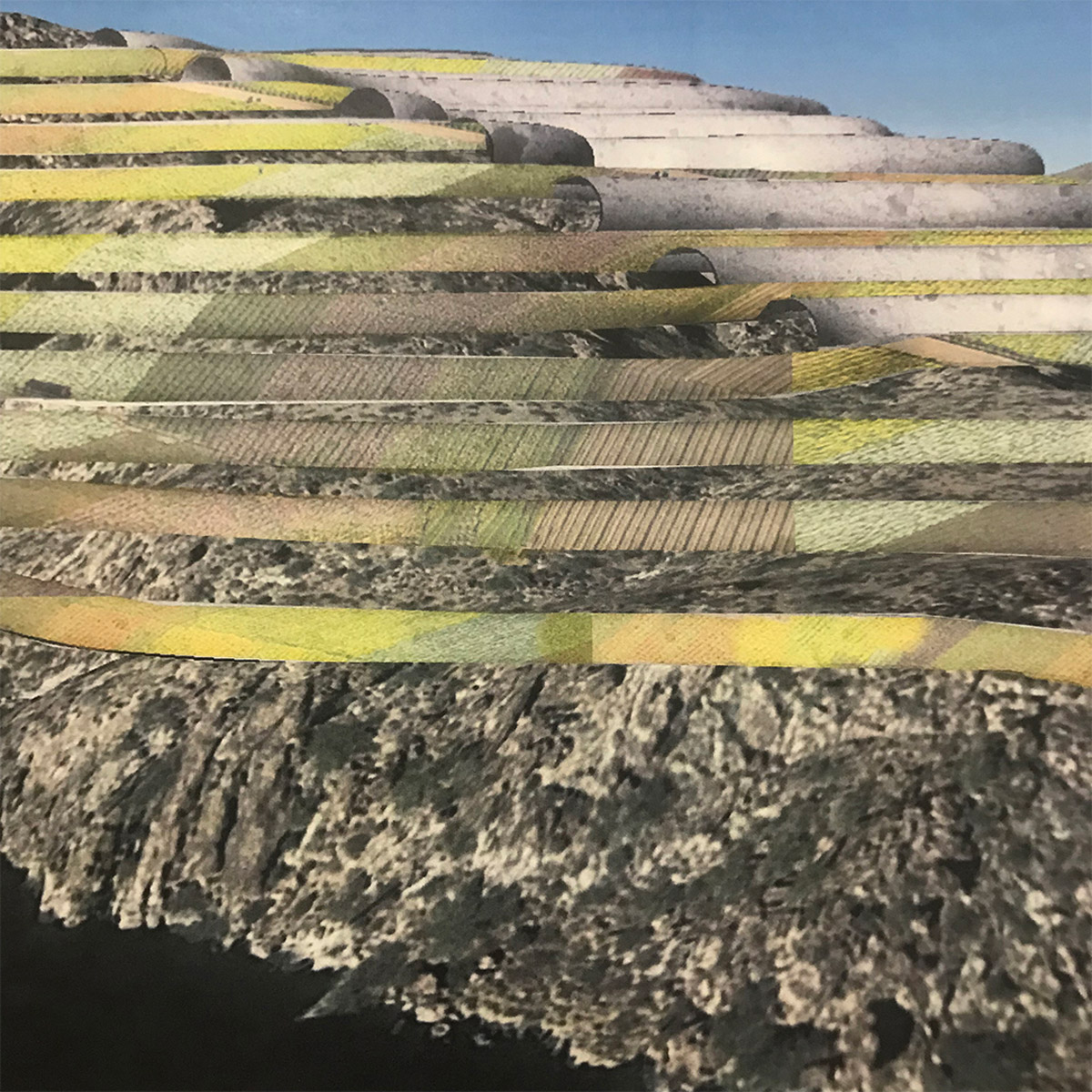 Concept collage study for a housing built into the contours of the mountains above Saguaro Lake by student Camille Medeiros