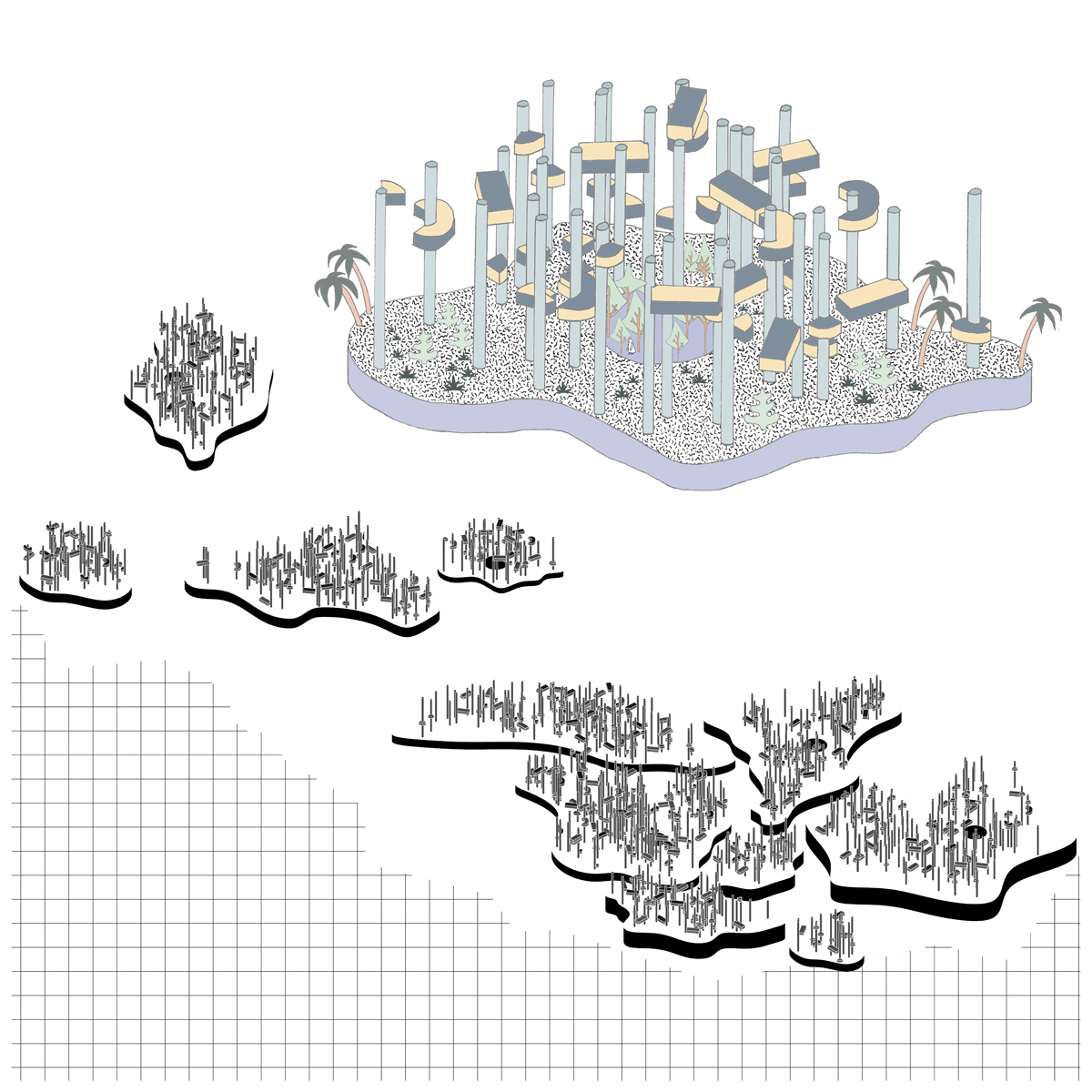 Concept axonometric drawings for an archipelago of new lands and units within the Salt River wash by student Cecile Kim