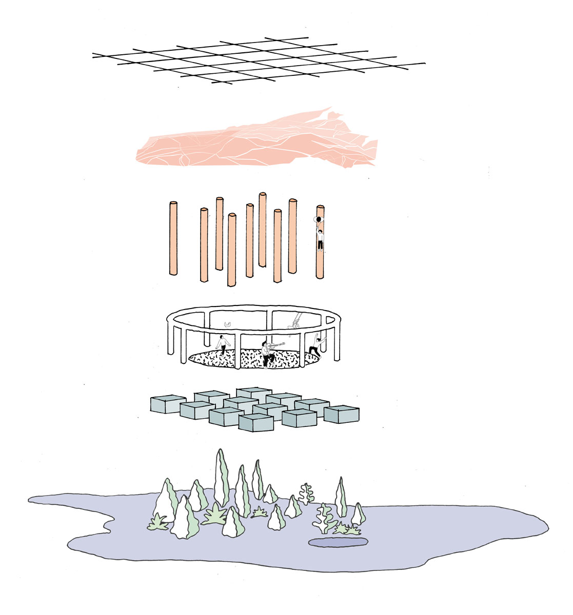 Exploded diagram of the components creating a community on the new lands of the Salt River by student Cecile Kim