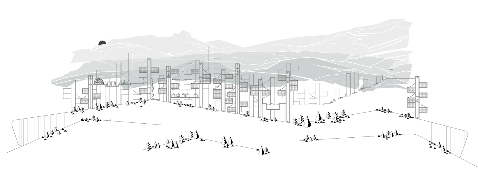 Urban section illustrating the layers of landscape, housing, and canopy cover for creating a new city by student Cecile Kim