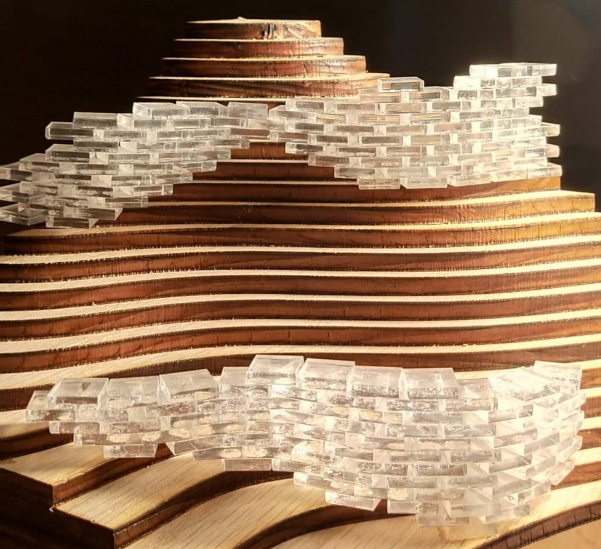Model of serpentine housing bars made up of stacked units along the contours of Camelback Mountain by student Donglei Cao
