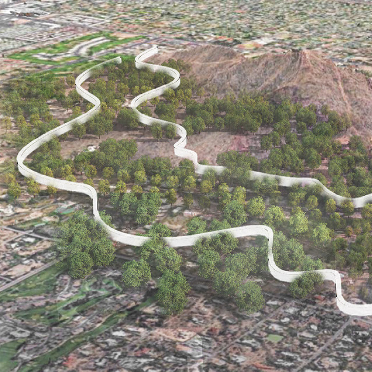 Aerial perspective of two paired undulating housing bars tucked into Camelback Mountain by student Donglei Cao
