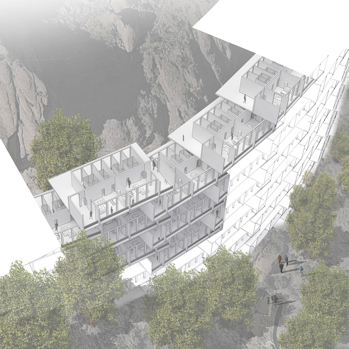 Aerial perspective showing the layouts of stacked housing units along Camelback Mountain by student Donglei Cao