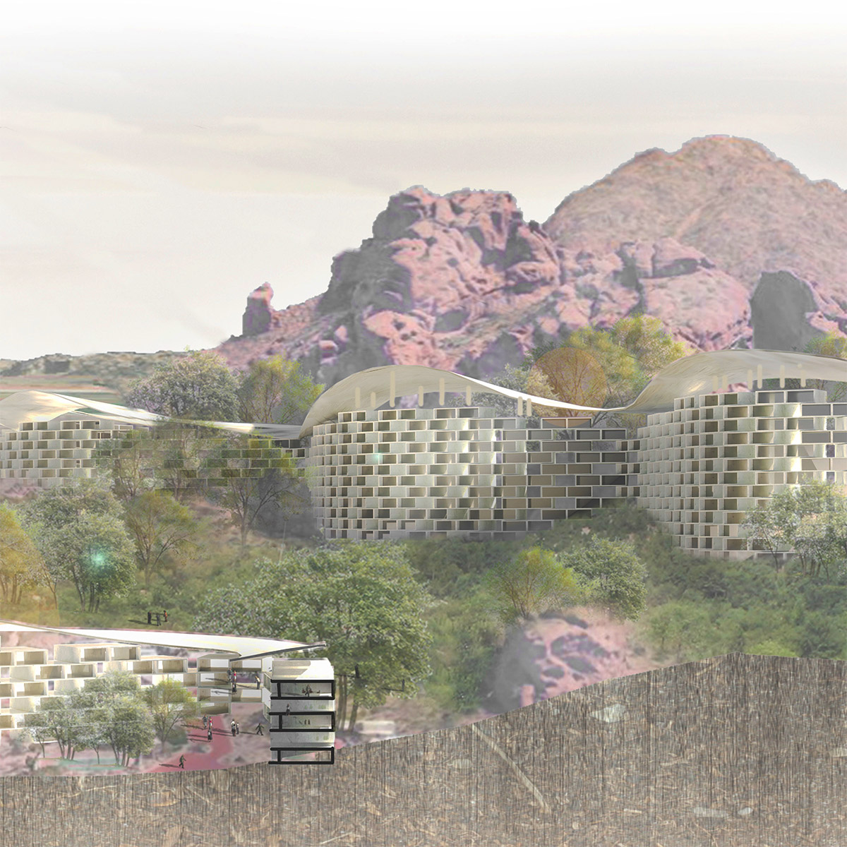 Section perspective between two paired housing bars set within the microclimate of Camelback Mountain by student Donglei Cao