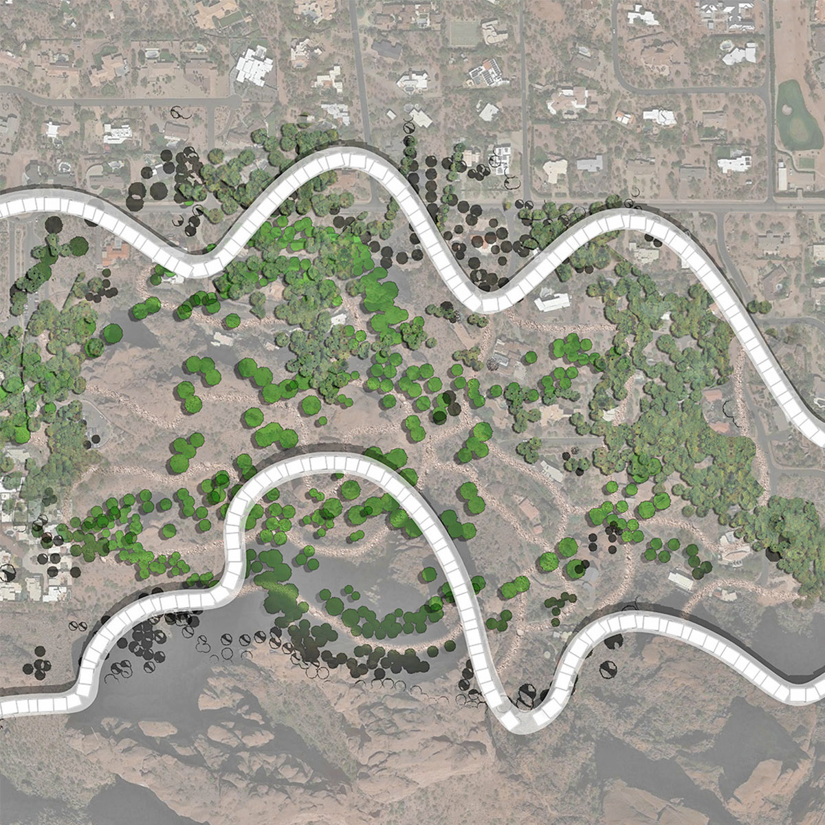Urban plan to foster a microclimate between paired housing bars on the northern face of Camelback by student Donglei Cao