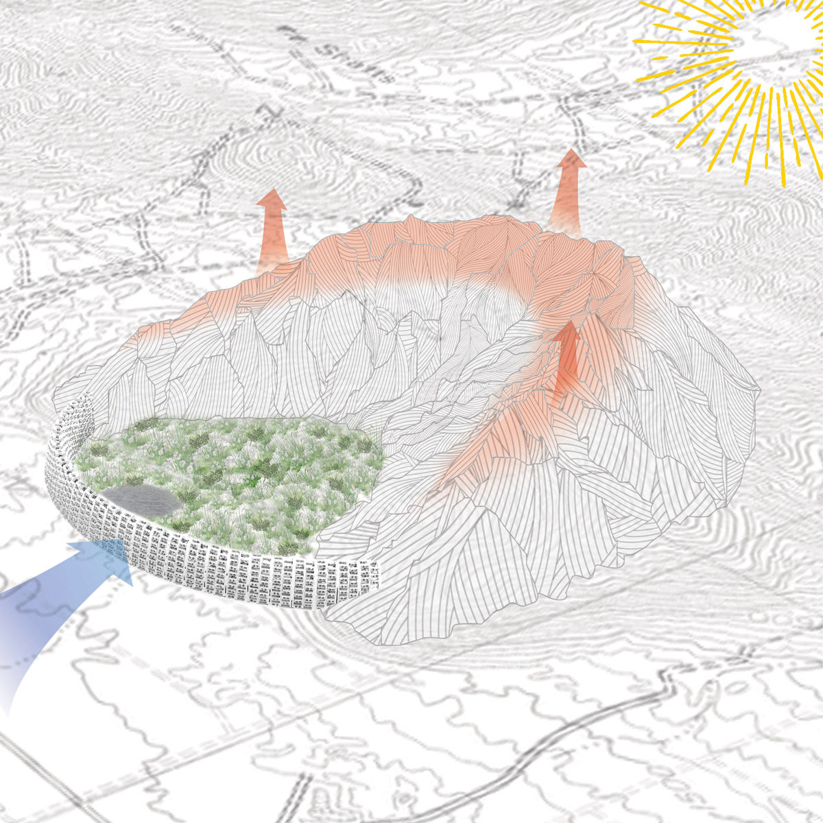 Diagram of harnessing the natural convective currents within the microclimate of a mountain by student Kyron Hardy