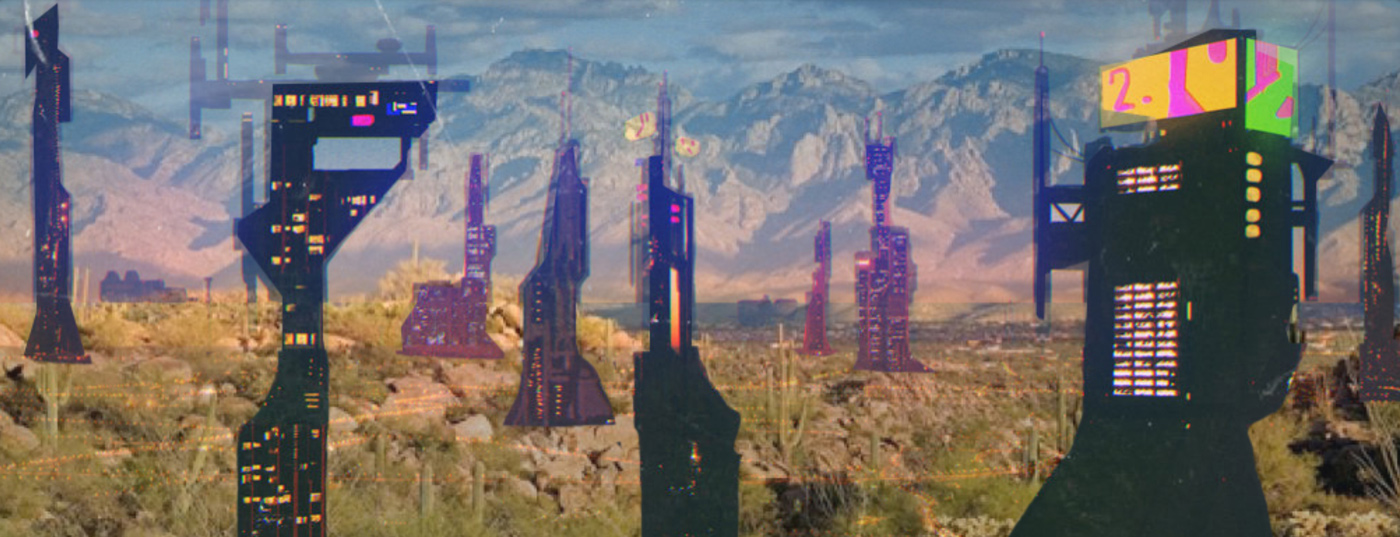 Collage landscape perspective of a future Phoenix of independent cities scattered in the desert by student Kyron Hardy
