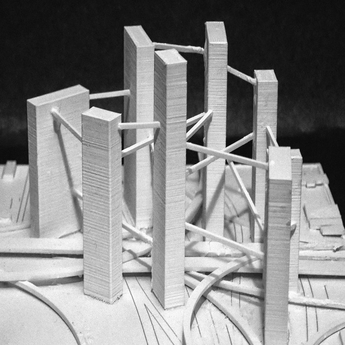 Urban massing model for a series of infill towers on the unused land around highway interchanges by student Xingyu Zhong